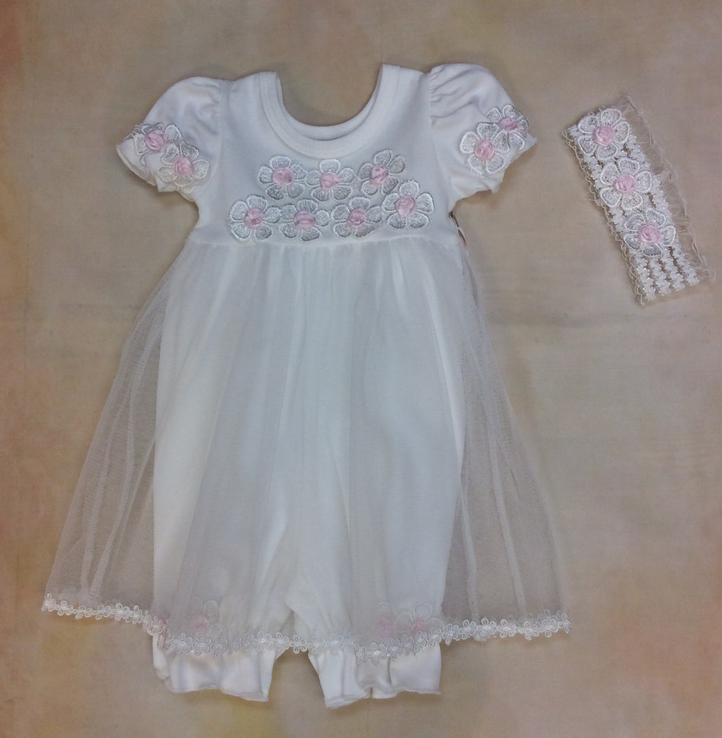 Baby Girl Ivory/Pink Romper Dress with Matching Headband MD3536