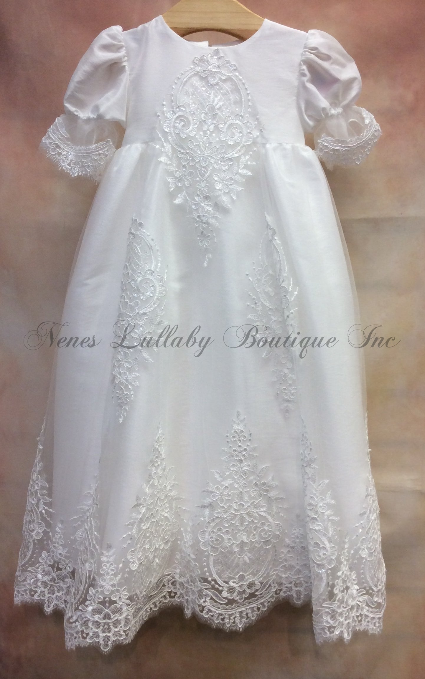 MDCH255DW Christening gown - Nenes Lullaby Boutique Inc
