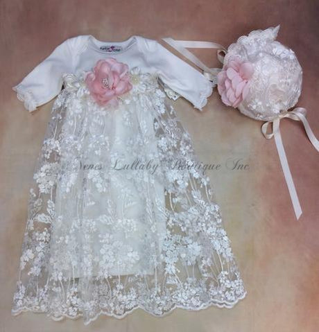 Mya Baby Girl Lace Take home gown with matching Bonnet Set by Katie Rose - Nenes Lullaby Boutique Inc
