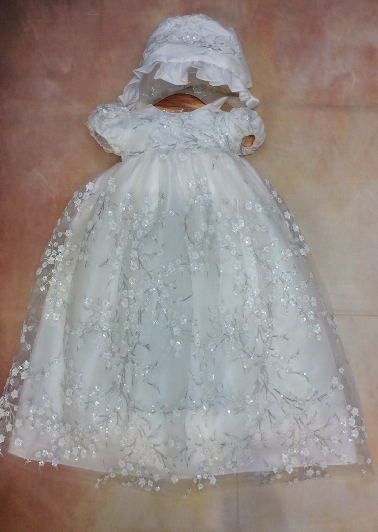 Marguerite Christening gown made of re-embroidered lace with matching bonnet - Nenes Lullaby Boutique Inc