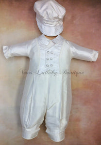 Matt_sk_ls_lp 100% White Silk Christening outfit with lone sleeve/long pant matching newsboy cap