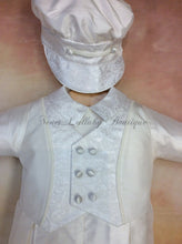 Load image into Gallery viewer, Matt_sk_ls_lp 100% White Silk Christening outfit with lone sleeve/long pant matching newsboy cap