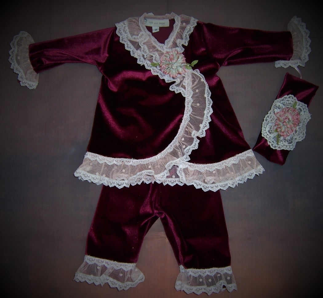 Velvet Burgundy Wrap Infant set NNVB102WS - Nenes Lullaby Boutique Inc