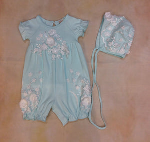 Baby Layette Romper w/matching bonnet P90243-5-10