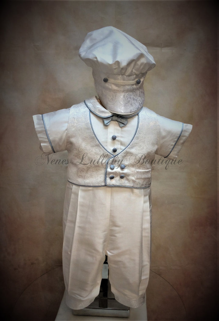 Blue Gerry White Silk Boys Christening outfit by Piccolo Bacio  PB_Blue_Gerry_ws-ss_lp - Nenes Lullaby Boutique Inc