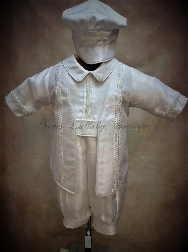 Felipe Shantung Boys Christening Suit by Piccolo Bacio  PB_Felipe_Sh_lp - Nenes Lullaby Boutique Inc