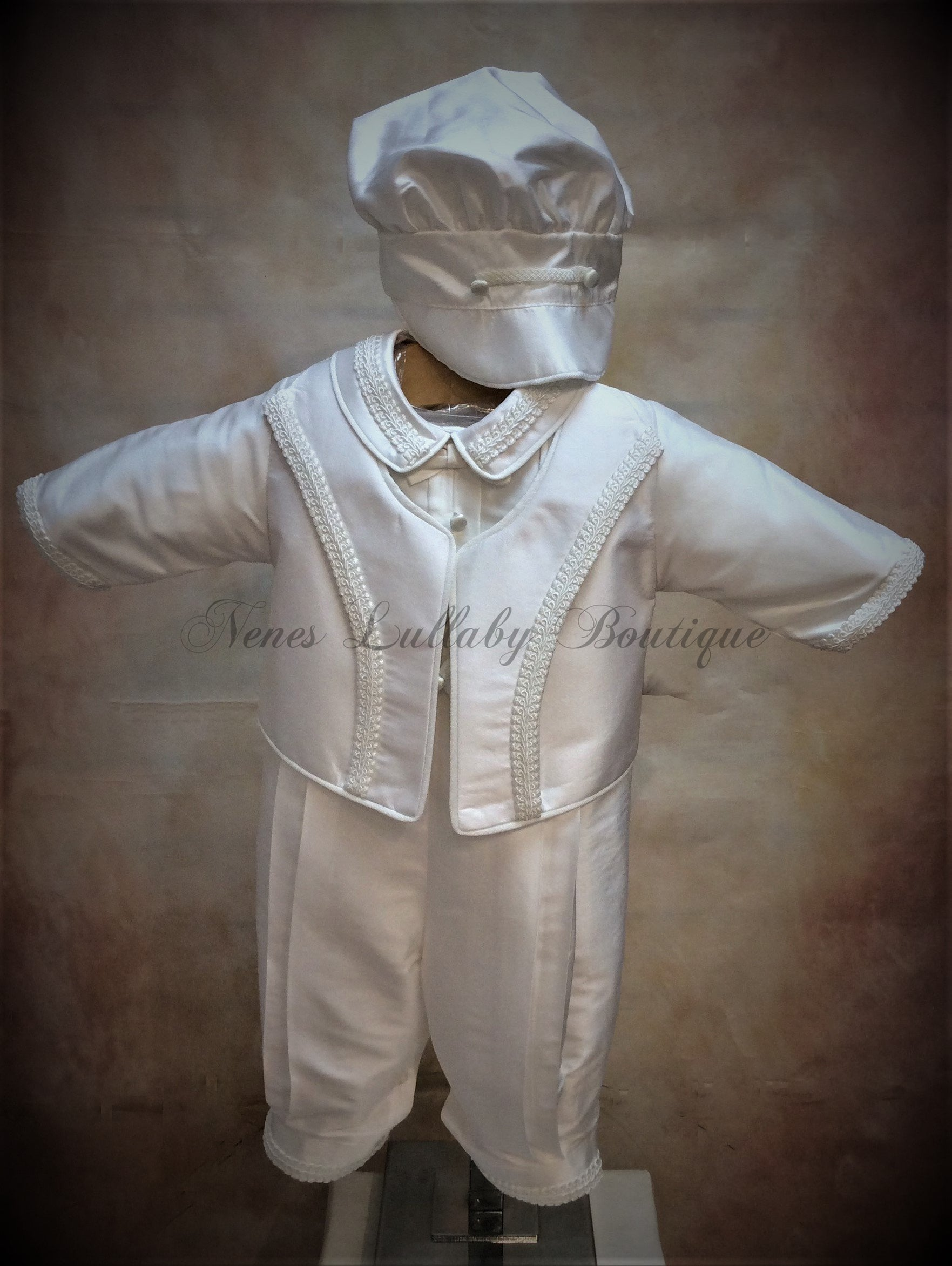 Franco Boys White Silk  Christening suit by Piccolo Bacio PB_Franco_ws_lp - Nenes Lullaby Boutique Inc