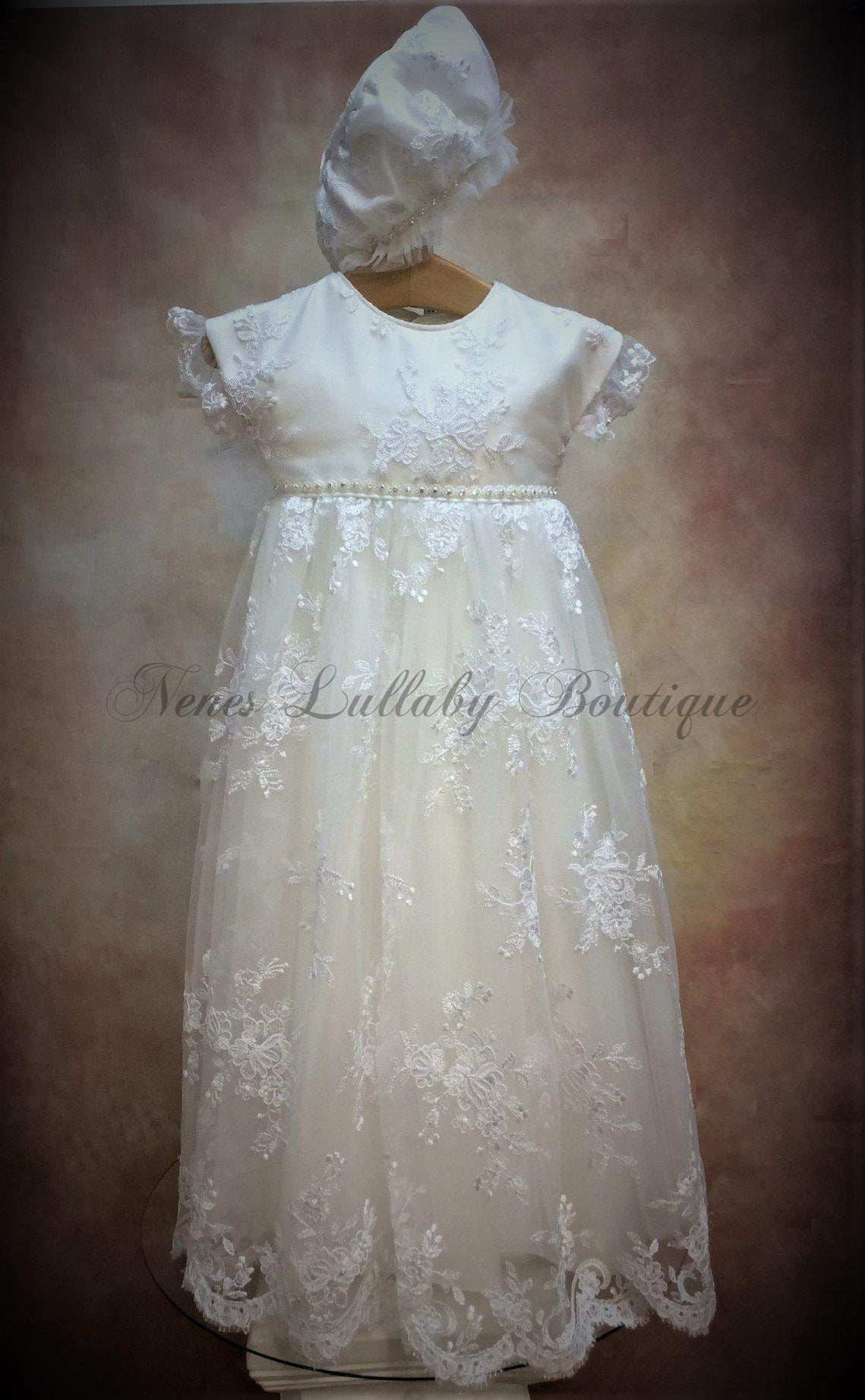 Piccolo Bacio Girls Christening Gown Vanina - Nenes Lullaby Boutique Inc