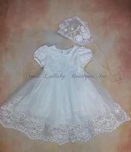 PDY2051X024 Short lace & tulle christening dress with matching sheer organza lace bonnet - Nenes Lullaby Boutique Inc