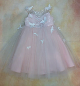 PDY2087024 Girls Lace satin & tulle party birthday dress with butterfly accent with pearl - Nenes Lullaby Boutique Inc