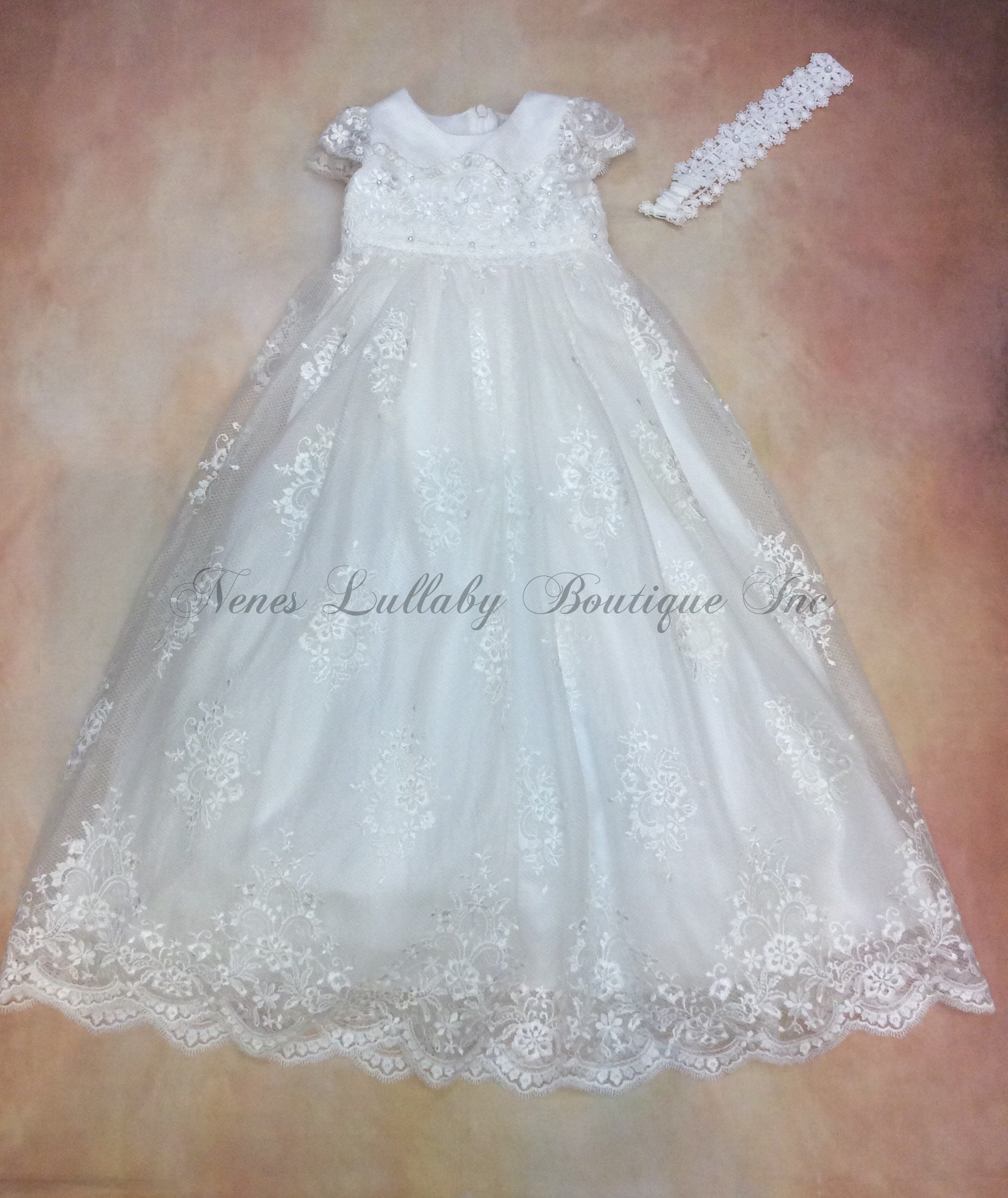 PDY2096024 All over lace Girls Christening Gown with matching headband - Nenes Lullaby Boutique Inc