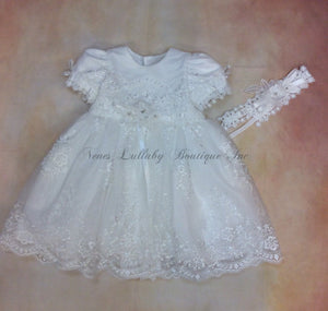 PDY9021239024 Girls Short all Lace & beads Christening/Baptism Dress with matching headband - Nenes Lullaby Boutique Inc