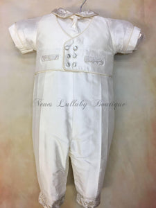Nunziato Boys White Silk & Gold Brocade Christening Suit by Piccolo Bacio PB_Nunziato_gb_ws_lp
