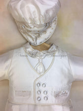 Load image into Gallery viewer, Pio White Silk Boys & Light gold brocade trim Christening outfit by Piccolo Bacio PB_Pio_ws-gb_ls_lp