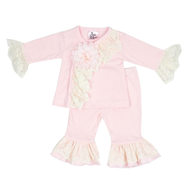 HB_QCP05 Little Girl Layette two piece set with matching Headband