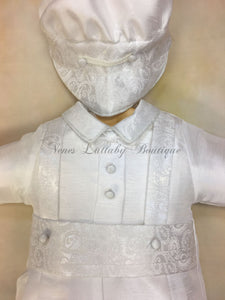 Renzo_sk_ss_kn Boy White Silk Christening outfit short sleeve, knicker pant matching newsboy cap