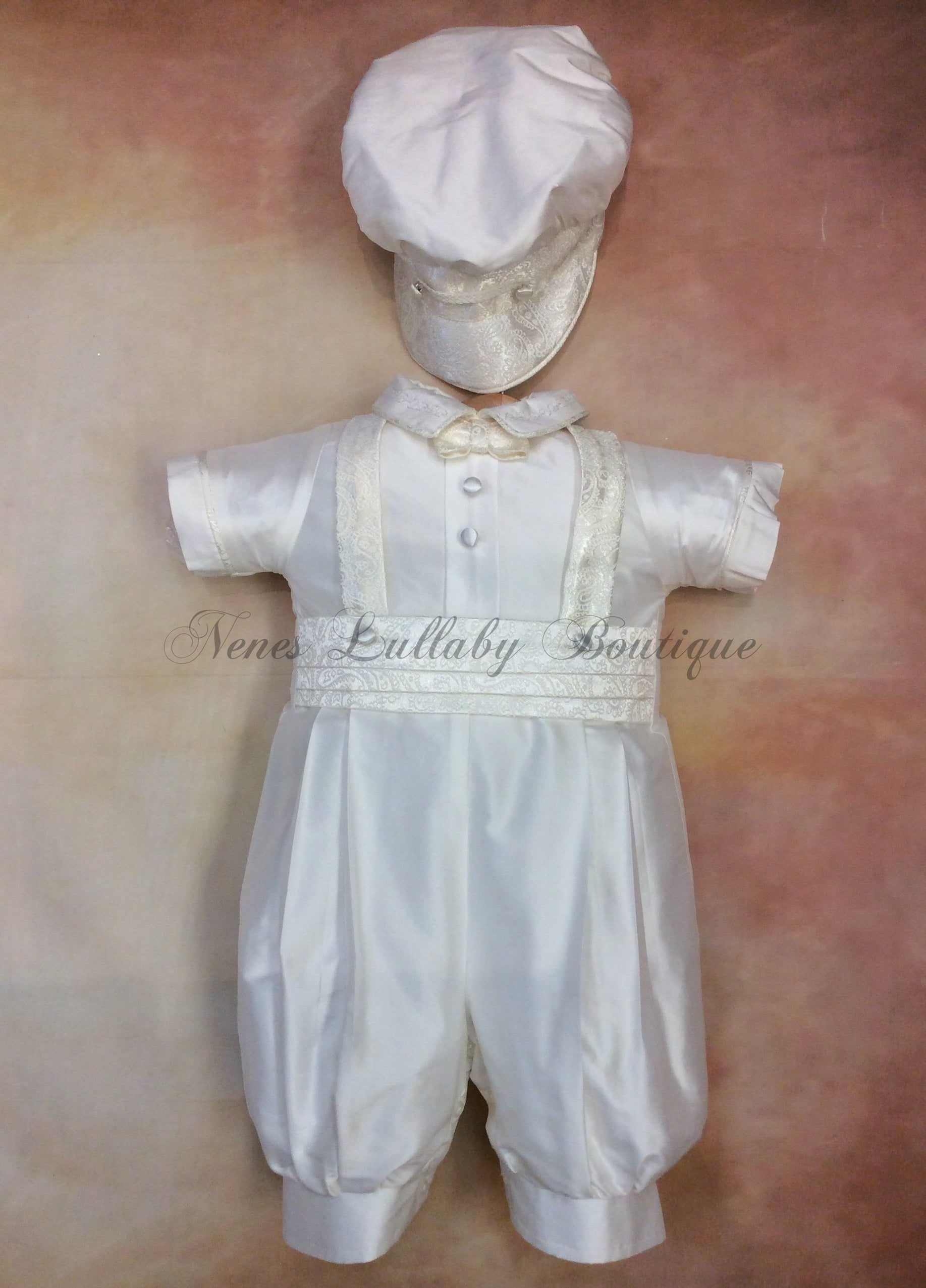Renzo_sk_ss_kn Boy White Silk Christening outfit short sleeve, knicker pant matching newsboy cap - Nenes Lullaby Boutique Inc