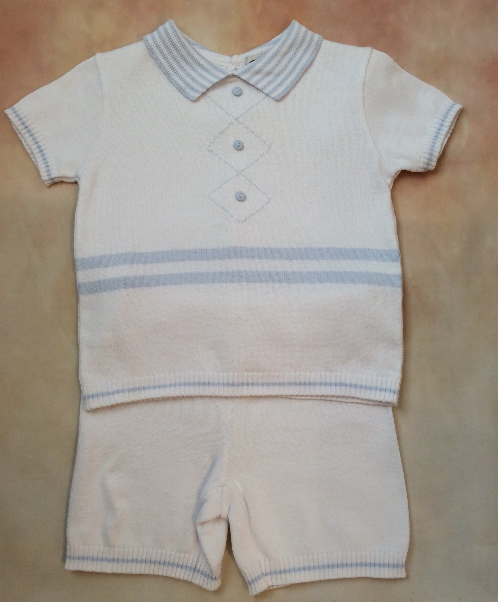 SL008055 boys two piece knit set White/sky blue - Nenes Lullaby Boutique Inc