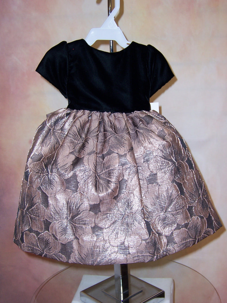 Black Velvet and Rose Gold Jacquard Holiday Dress SL5419SK