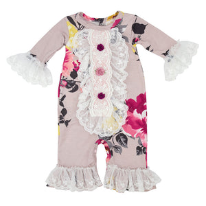 Cranbery  Rose Coverall - Nenes Lullaby Boutique Inc