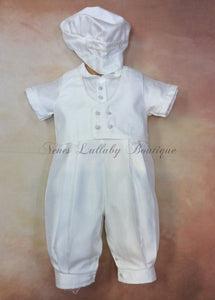 William_Sh Boy White Shantung Christening Suit w/vest and matching newsboy cap