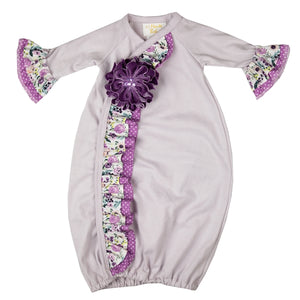 YPP01Baby Girl Plum Perfect Layett Gown - Nenes Lullaby Boutique Inc