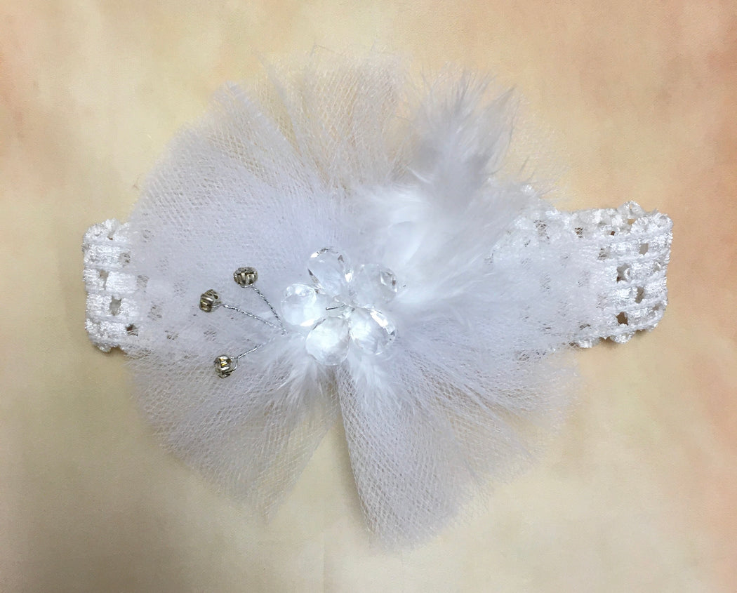 BWF3L8 White Tulle and Crytal & Feather accent headband on elastic ribbon band - Nenes Lullaby Boutique Inc