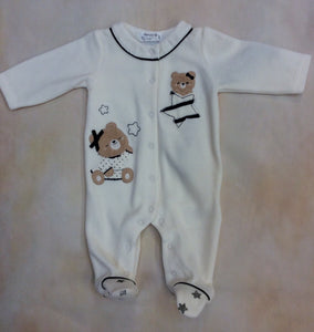 2711-1 Cream velvet footed baby girl layette outfit