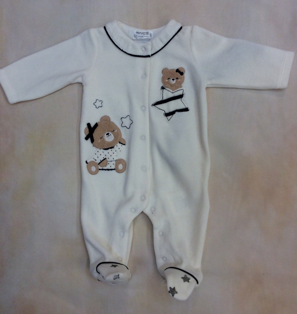 2711-1 Cream velvet footed baby girl layette outfit - Nenes Lullaby Boutique Inc