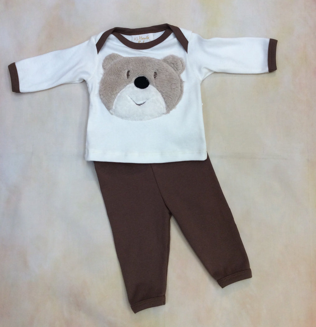 HB_JB04 Boy Two Piece Layette set with soft bear motif