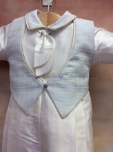 Load image into Gallery viewer, Felix Silk Christening outfit PB_Felix_SK_ls_lp with Matching Cap Sky Blue Waffle vest - Nenes Lullaby Boutique Inc