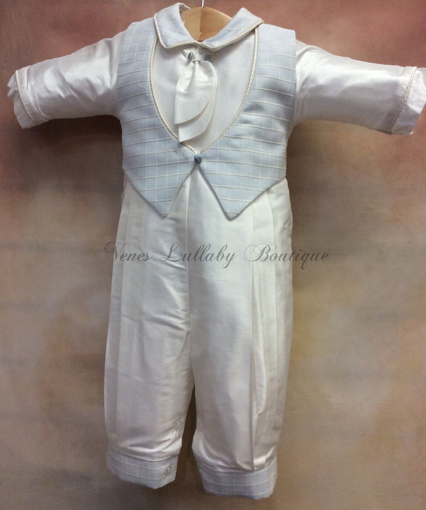Felix Silk Christening outfit PB_Felix_SK_ls_lp with Matching Cap Sky Blue Waffle vest - Nenes Lullaby Boutique Inc