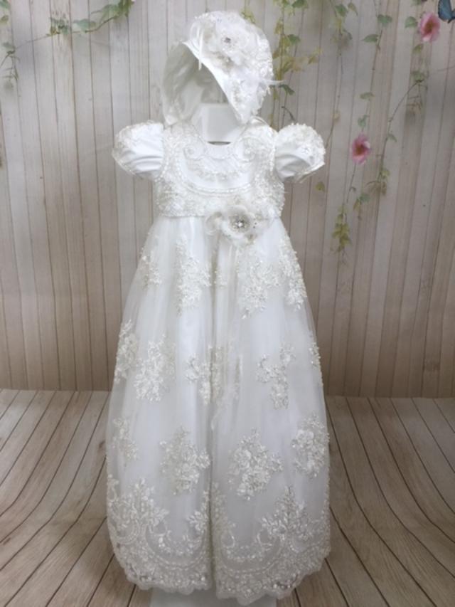 Loren II  Christening Gown By Christie Helene Couture - Nenes Lullaby Boutique Inc