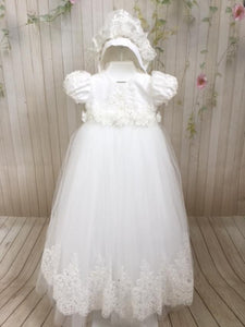 Lourdes Christening Gown by Christie Helene Couture - Nenes Lullaby Boutique Inc