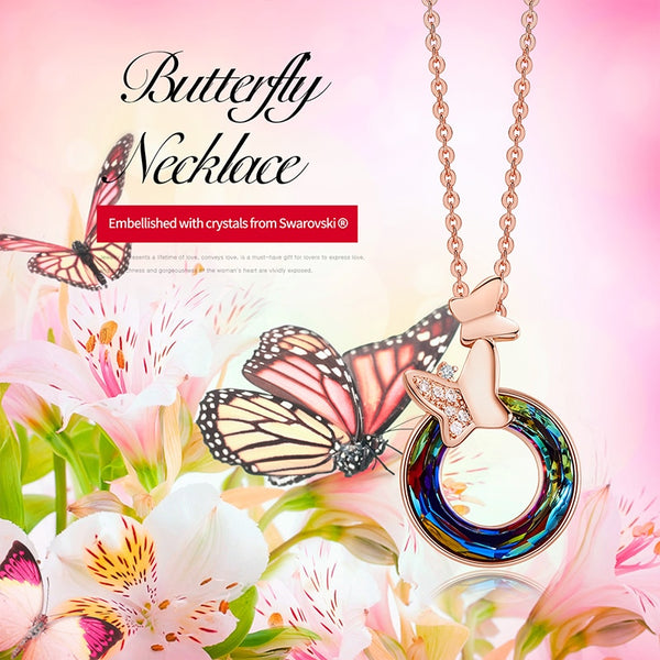 Colorful Swarovski Crystal Circle Shaped Pendant  With Micro Pave Zircon Butterfly