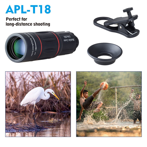Monocular 18 x 25 Telescope Lens  With Universal Clip for iPhone or Andriod