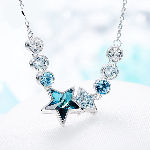 Fashion Pendant Blue Star Shaped Twelve Constellations  Embellished with Swarofski Crystal