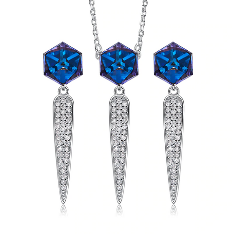 Silver Blue Necklace & Earings Set  Embellished with Swarofski Crystals