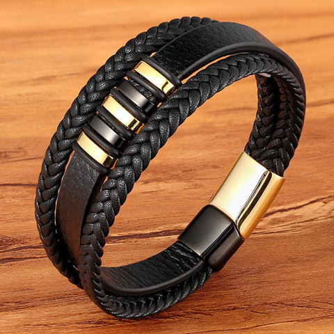 Genuine Leather Bracelet For Men Black Gold