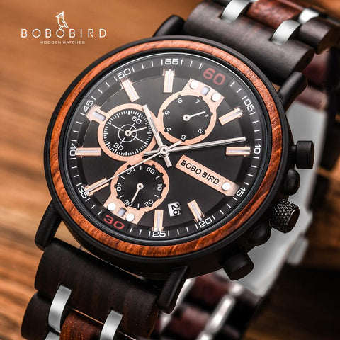 BOBO BIRD Wooden Watch Men  Luxury Stylish Chronograph Military Watch in Wooden Box