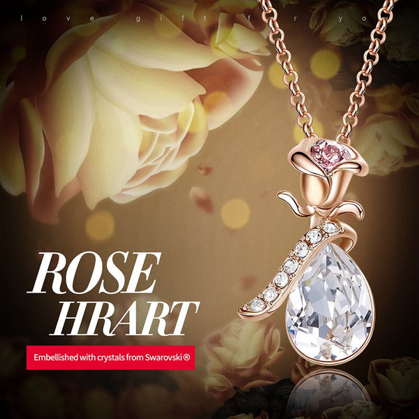 Romantic Gold Rose Flower Water Drop Necklace with White Swarovski Crystal
