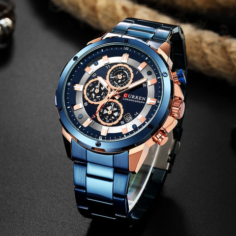 CURREN Men Watch Blue Luxury Quartz Chronograph