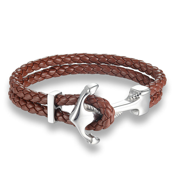 Genuine Leather  Anchor Bracelets For Men Handmade Braided Vintage