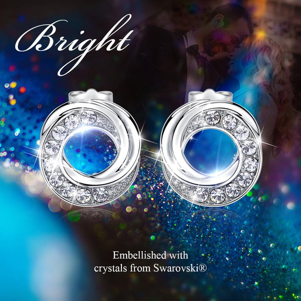 Fashion Silver Color Stud Earrings  Embellished with Swarofski Crystals