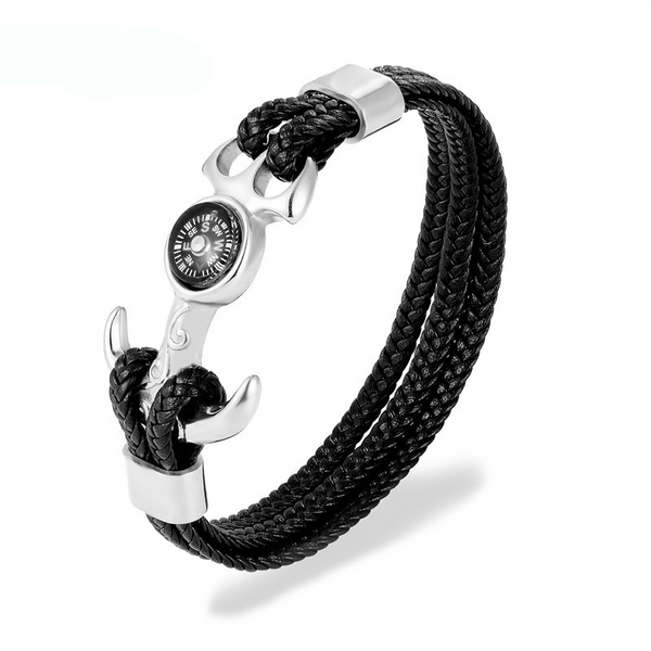 Compass Anchor Genuine Leather Bracelet For Men