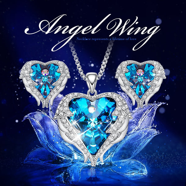 Angel Wing Heart Shaped Necklace Earrings Set  Embellished with Swarofski Crystal