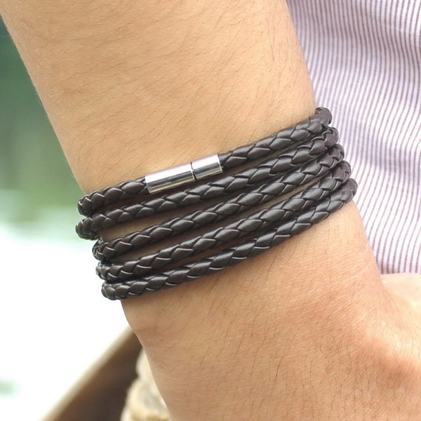Retro Wrap Long  Genuine Leather Bracelet Men