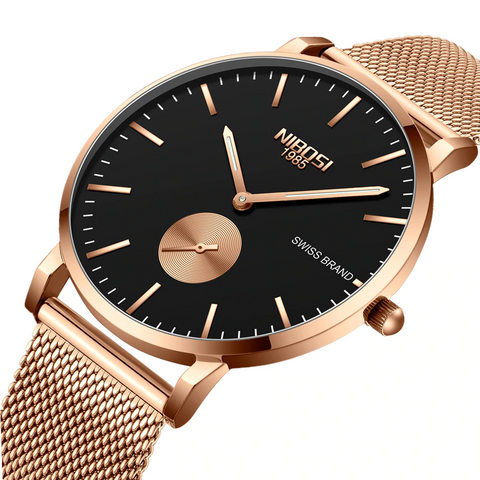 NIBOSI Luxury Unisex Ultra Thin Wristwatch