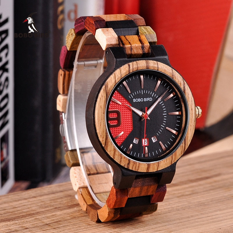 BOBO BIRD  Wooden Watch For Men  Luxury Date Display Wood Quartz Watch