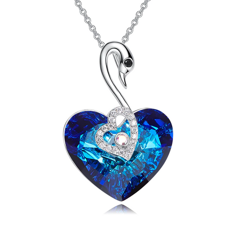 Trendy Female Heart Pendant  Embellished with Swarofski Crystals